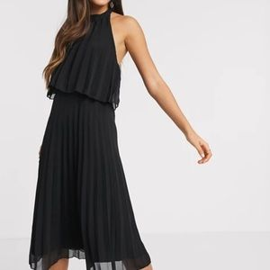 ASOS Black Halter Tie Pleated Midi Dress (size 2)